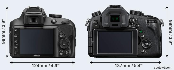 D3400 and FZ1000 rear side