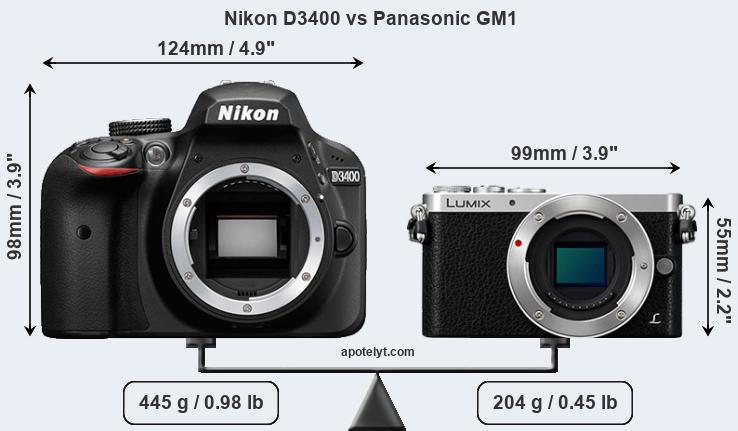 Size Nikon D3400 vs Panasonic GM1
