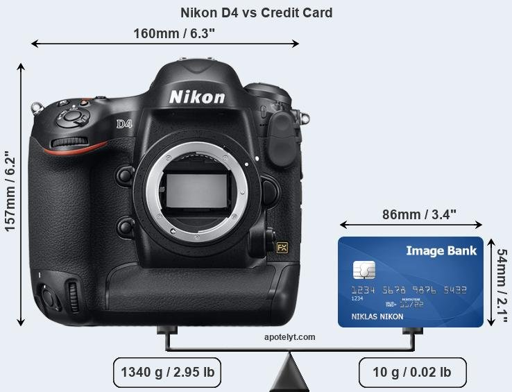 Nikon D4 vs credit card front