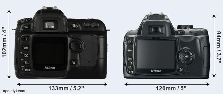 D50 and Nikon D60 rear side