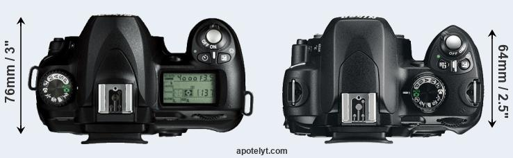 D50 versus Nikon D60 top view
