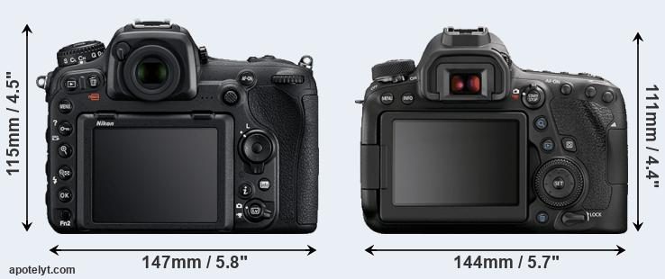 D500 and 6D Mark II rear side