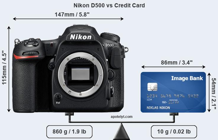 Nikon D500 vs credit card front