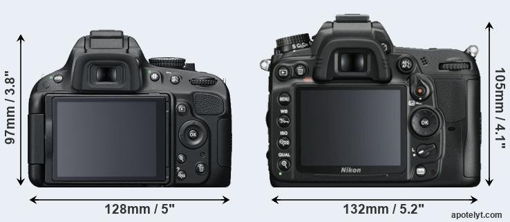 D5200 and D7000 rear side