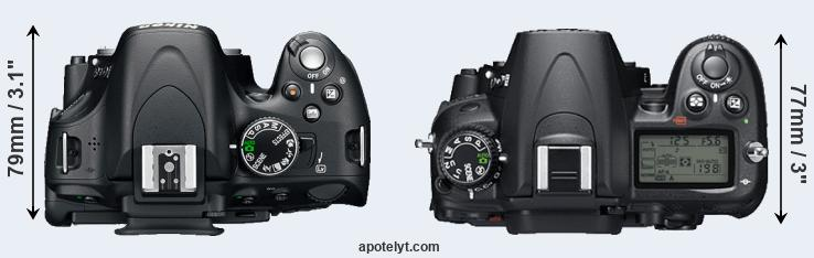 D5200 versus D7000 top view