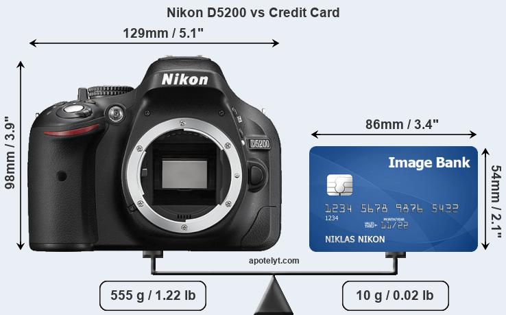 Nikon D5200 vs credit card front
