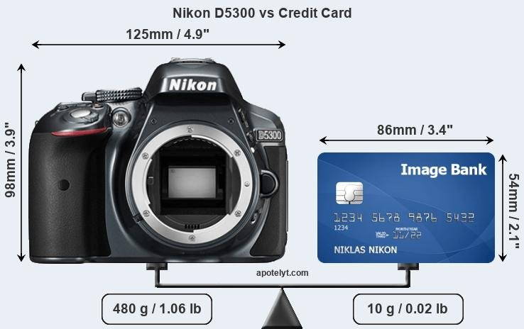 Nikon D5300 vs credit card front