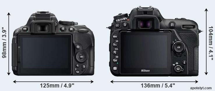 D5300 and D7500 rear side