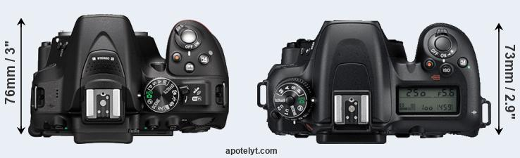 D5300 versus D7500 top view