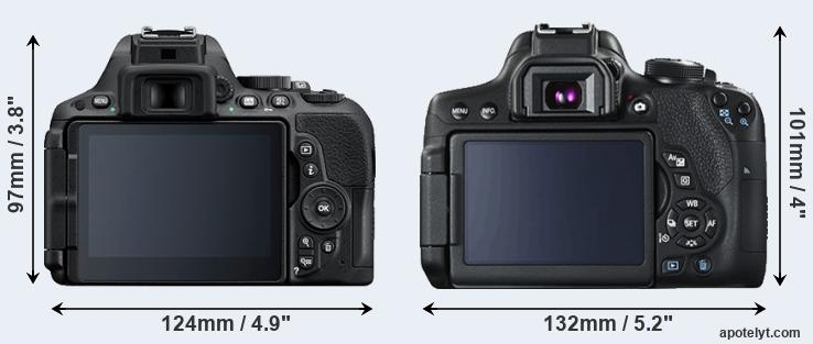 D5500 and 750D rear side