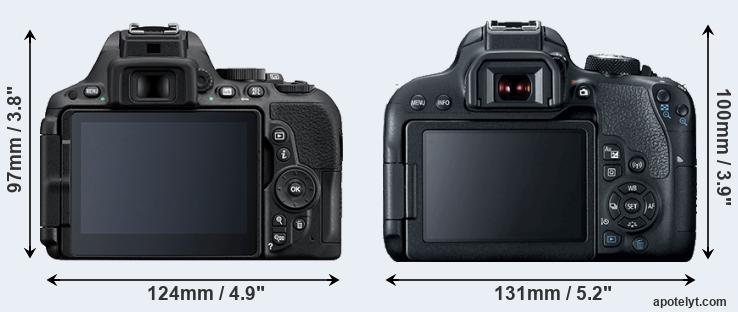 D5500 and 800D rear side