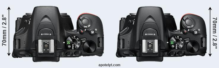 D5500 versus D5600 top view