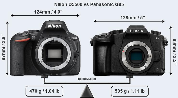 Compare Nikon D5500 and Panasonic G85