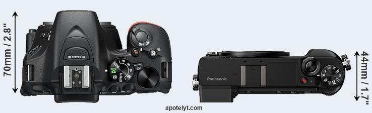 D5500 versus GX85 top view