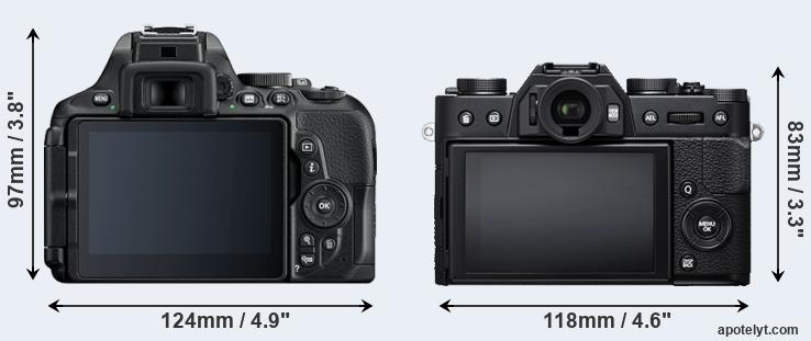 D5600 and X-T20 rear side