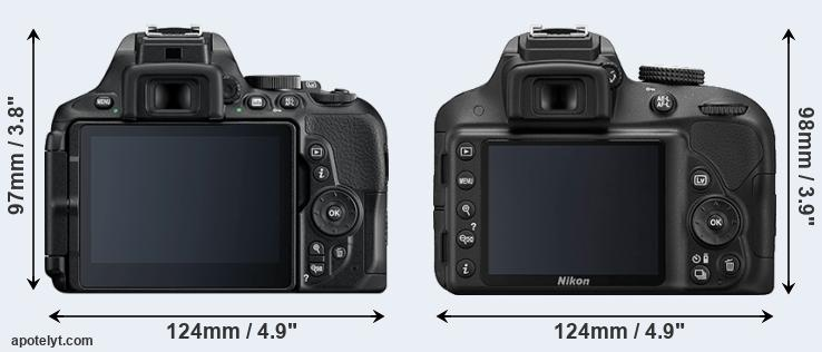 D5600 and D3300 rear side