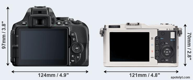 D5600 and E-P1 rear side