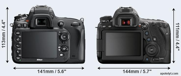 D600 and 6D Mark II rear side