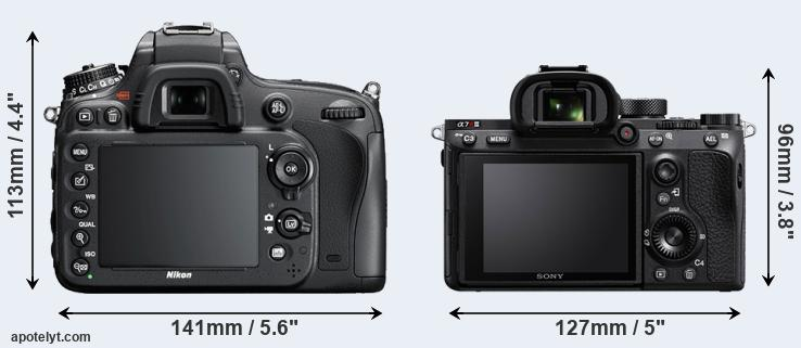 D600 and A7R III rear side