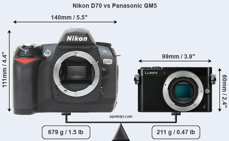 Size Nikon D70 vs Panasonic GM5