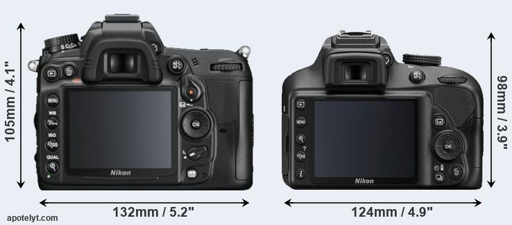 D7000 and D3400 rear side