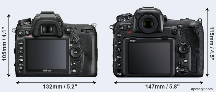 D7000 and D500 rear side