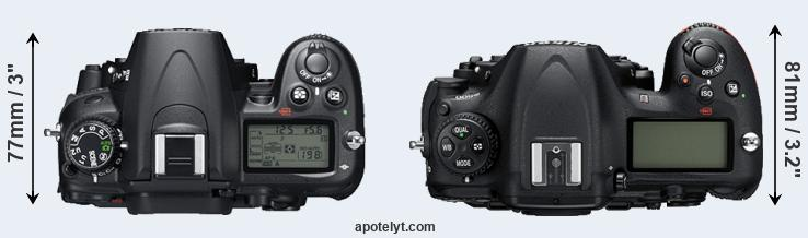 D7000 versus D500 top view
