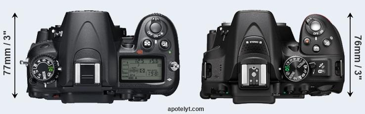 D7000 versus D5300 top view