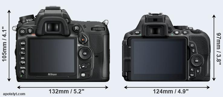 D7000 and D5500 rear side