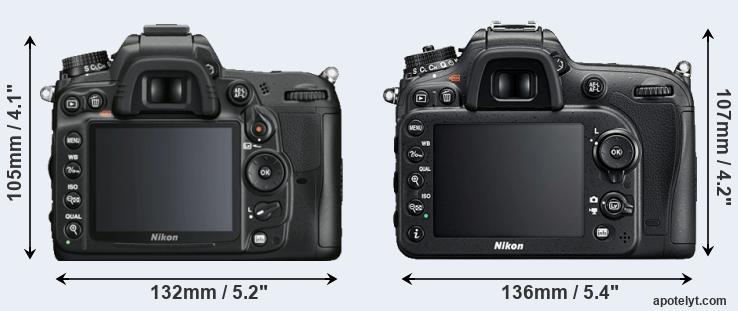 D7000 and D7200 rear side