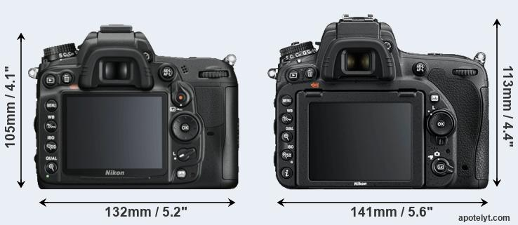 D7000 and D750 rear side