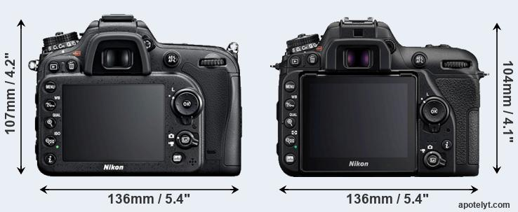 D7100 and D7500 rear side