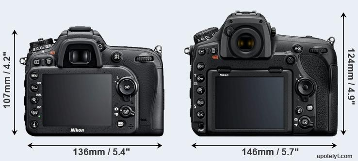 D7100 and D850 rear side