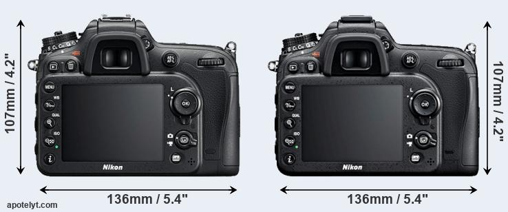 D7200 and D7100 rear side