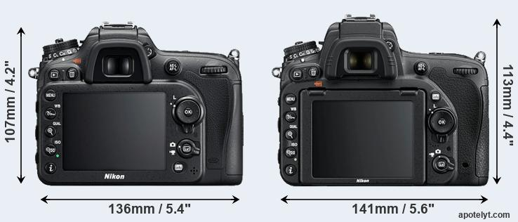 D7200 and D750 rear side