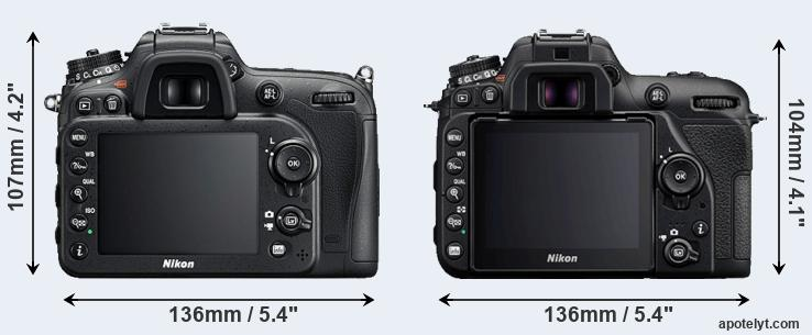 D7200 and D7500 rear side