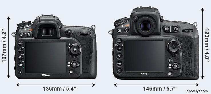 D7200 and D810 rear side