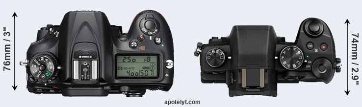 D7200 versus G80 top view