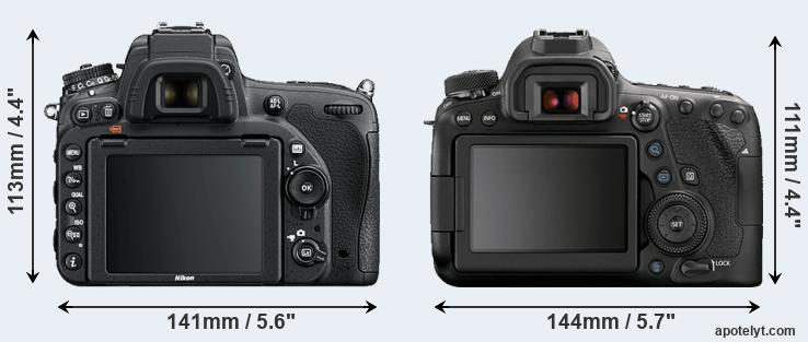 D750 and 6D Mark II rear side