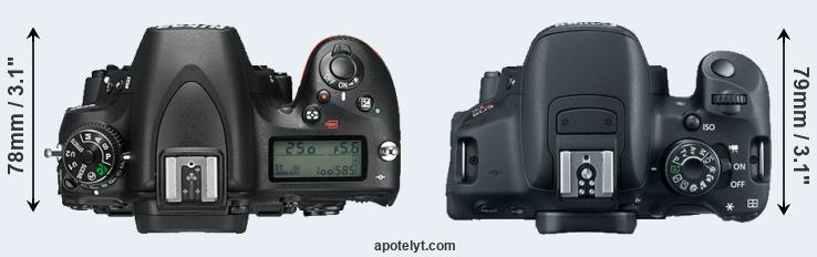 D750 versus 700D top view