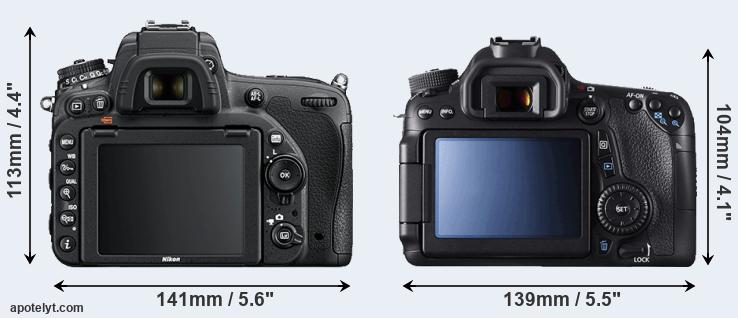 D750 and 70D rear side