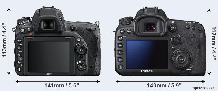 D750 and 7D Mark II rear side
