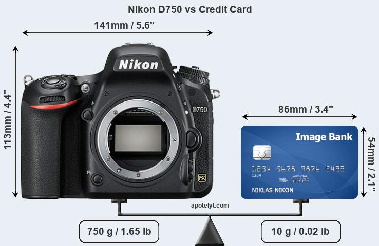 Nikon D750 vs credit card front