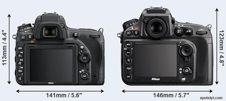 D750 and D800 rear side