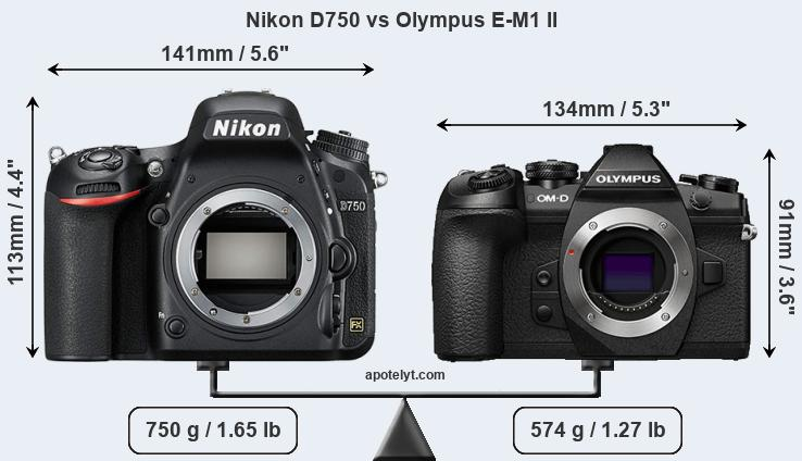Nikon D750 and Olympus E-M1 II sensor measures