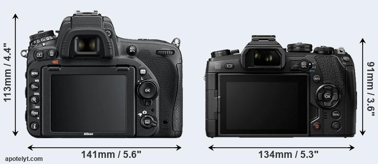 D750 and E-M1 II rear side