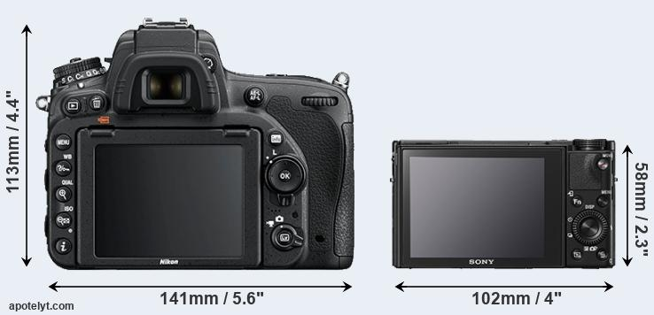 D750 and RX100 V rear side