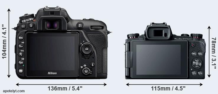D7500 and G1X Mark III rear side