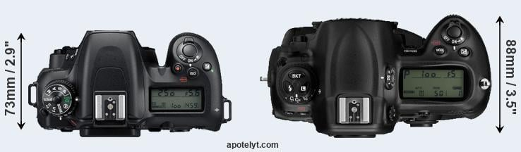 D7500 versus D3 top view