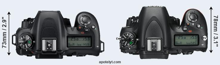 D7500 versus D750 top view